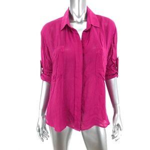 Bella Dahl Size S Small Button Up Shirt Dark Pink
